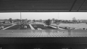 Rain Falls on the roof of the concession stand at Community Field
