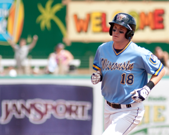 Hunter Morris rounds the bases after one of his nine home runs with the Timber Rattlers in 2010. (Credit: PSB Photo)
