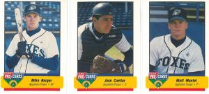 Mike Barger, Jose Cuellar, and Matt Mantei of the 1994 Appleton Foxes