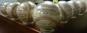 Autographed baseballs media wall