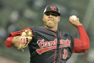 Cesar Jimenez pitching for Lara in Venezuela. Photo Credit: HERE