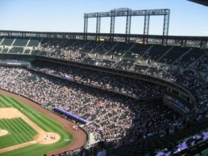The seats were in the third deck on the first base side. The purple line designates A mile above sea level.