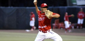 Juan Sandoval in action with Diablos Rojos del Mexico during the summer. Photo Credit: HERE