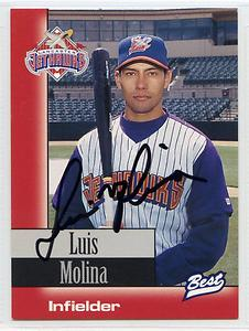 "Luis Molina (pictured here with Lancaster in 1997) had the ""walkoff"" hit at least twice during the 1995 season."