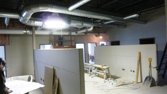 The work area in the front office.