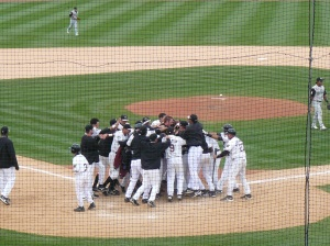 This may be the only photo of Scott Robinson in a Timber Rattlers uniform that we have. He's in there somewhere.