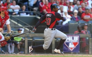 Adam Jones connects for team USA (Credit: Mark J. Rebilas-USA TODAY Sports)