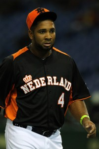 Wladimir Balentien with the Netherlands in Tokyo. (Credit: Koji Watanabe/Getty Images AsiaPac)