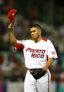 Hiram Burgos after his scoreless outing for Puerto Rico in the WBC.  (Photo by Al Bello/Getty Images)
