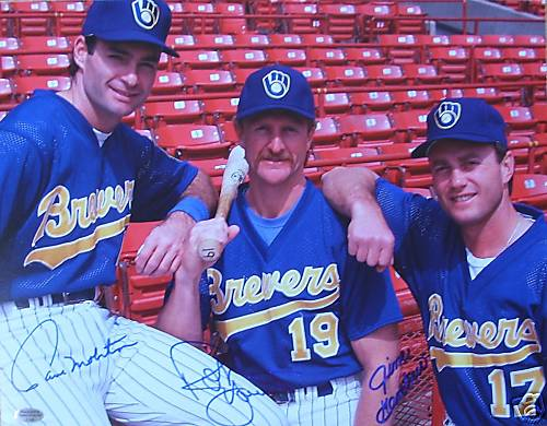 Paul Molitor, Robin Yount, and Jim Gantner show off the jerseys.