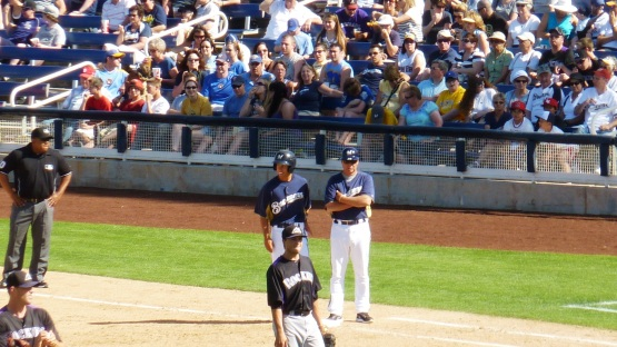 Nick Shaw at first after his RBI single.
