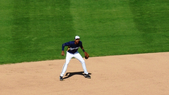 Yadiel Rivera in the field.