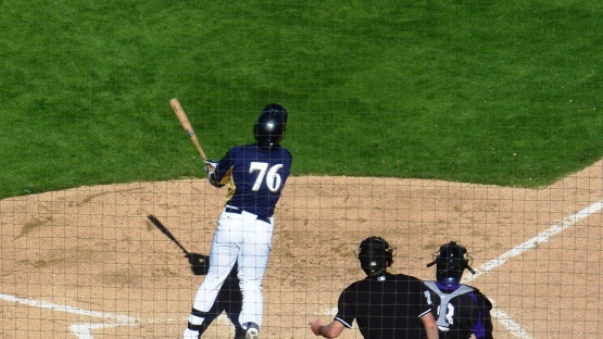 Mitch Haniger at the plate in the bottom of the 7th.