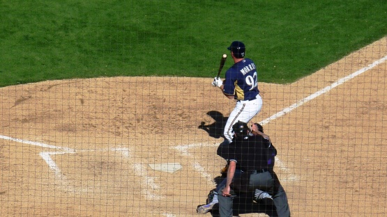 Hunter Morris at the plate right after Haniger.