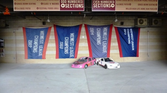 The Foxes Banners from 1982-1984 and the 2012 Timber Ratters Pennant.