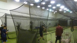 There was actual baseball work going on in the cages.