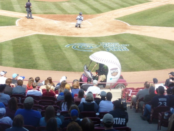 The Timber Rattlers are now 1-1 with the bullpen car.