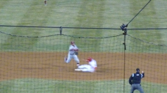 If I were a better photographer, this would be an awesome picture of Chris McFarland turning a double play.