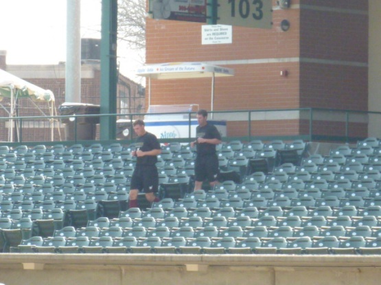 Running the steps in Peoria before Sunday's game.