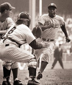 This is Jackie Robinson stealing home in Game One of the 1955 World Series.