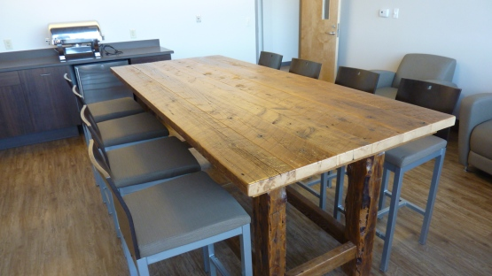 3.) The table in suite 5 is made out of reclaimed wood.