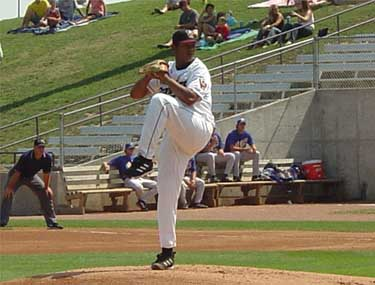 Felix Hernandez pitches against the Burlington Bees on August 24, 2003.