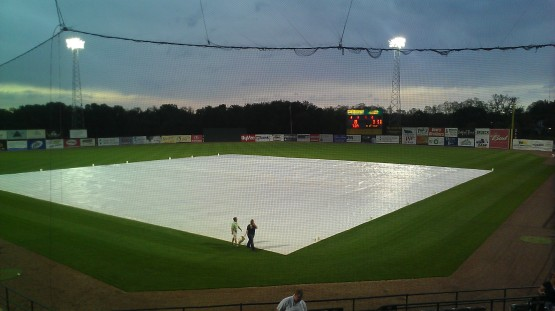 The tarp went on the field with a 3-1 count on Wendell Soto with two outs, two runs in, and a runner on third.