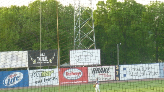 Let's call it about 10' above the white sign on the light tower....That's where Orlando Arcia's ball hit for his first Timber Rattlers home run.
