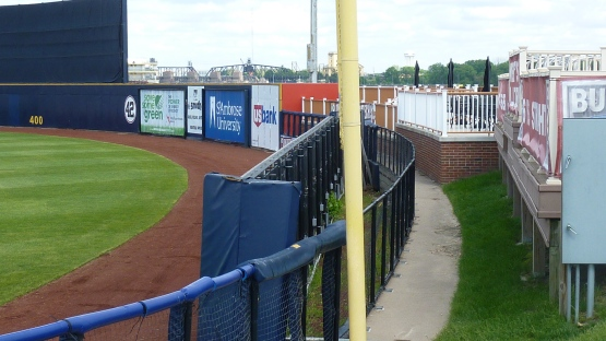 Nothing to do with tonight's game. But, to the right is the old fence.  To the left is the ribbon board that cut down the distance about five feet.