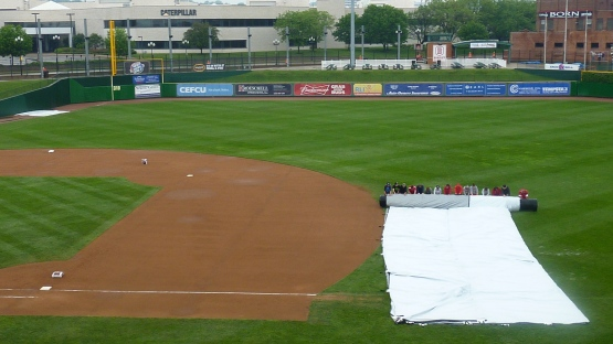 The tarp is off the field...for now.