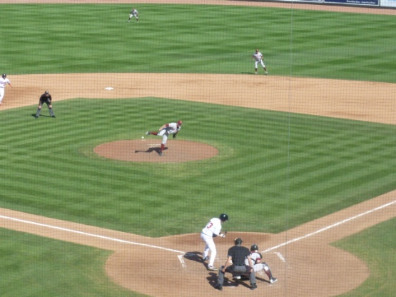 Ryan Gibbard strikes out Jeremy Rathjen to end the fifth inning on Sunday.