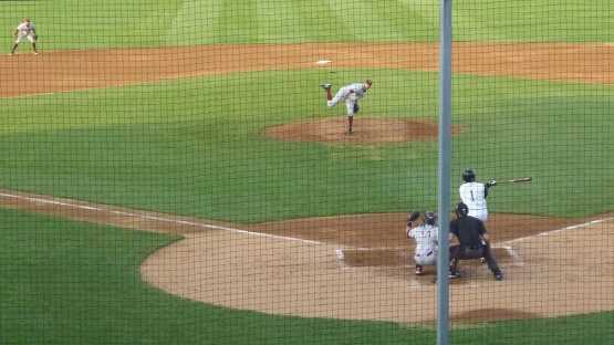 Jorge Lopez strikes out Oliver Zapata in the third inning of Saturday's game.