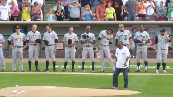No. Really. Joe Morgan threw out the first pitch.  Really.