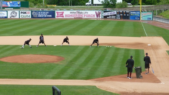 Early work for the Timber Rattlers before Wednesday's game.