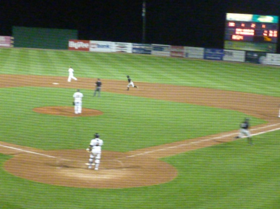 That blur is Victor Roache heading to first base as the ball soars out of the stadium.