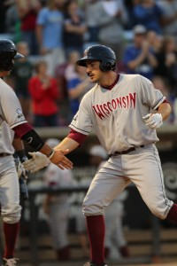 Parker Berberet had the longest hitting streak for the Timber Rattlers in 2013.