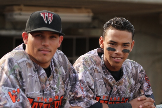Rodolfo Fernandez and Orlando Arcia probablty hadn't seen anything like these jerseys.