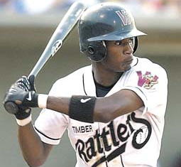 Here's Adam Jones at bat as a Timber Rattler in 2004.