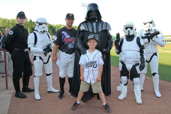 Matt Erickson is the one wearing the Timber Rattlers Star Wars jersey.