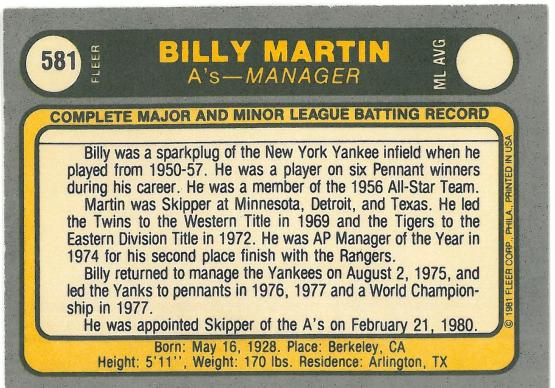 I think this covers only about HALF of Billy's managerial jobs.