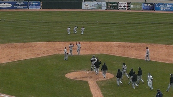 Outfielders celebration