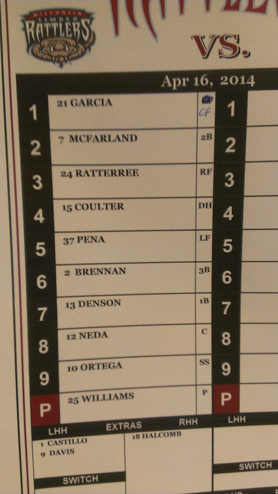 April 16 game one lineup