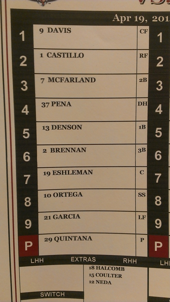 Lineup April 19 v Great Lakes