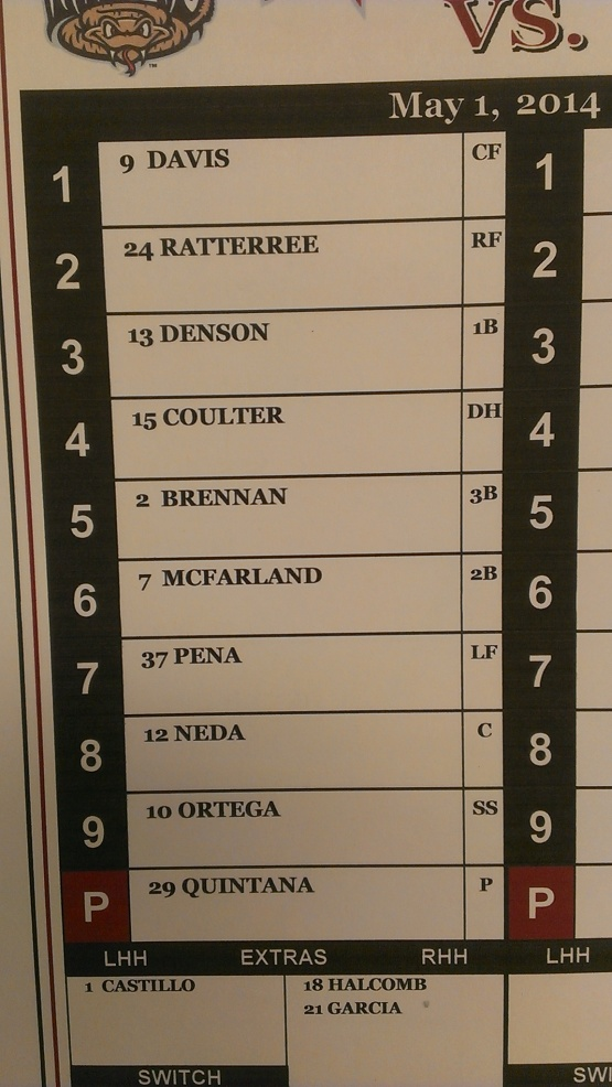 May 1 2014 Timber Rattlers Lineup Game One