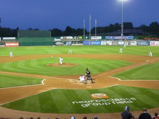 This is the way the infield lined up with Jacob Rogers at the plate.