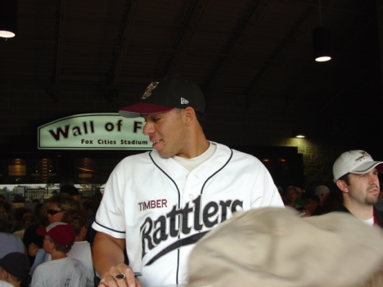 Rene Rivera at the autograph booth before a game in 2003.