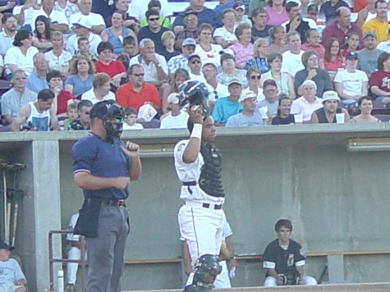Rene Rivera as a Timber Rattlers catcher in 2003.