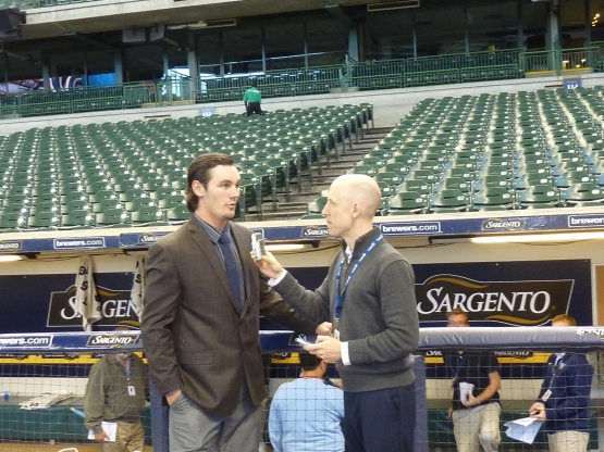 Joe Block interviews Clint Coulter at Miller Park.