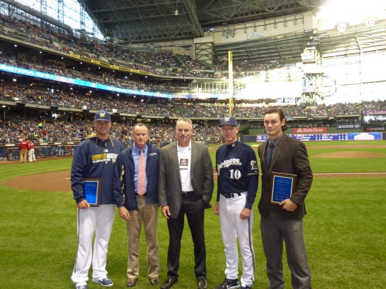 Nelson, Reid Nichols, Shawn Whalen, Ron Roenicke, and Coulter after the awards were presented.