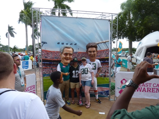 Giant Papier-mâché heads of Don Shula & Dan Marino.